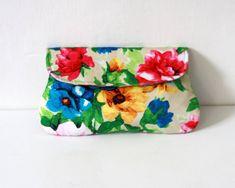 Floral Clutch, bridesmaid clutch limited edition, colorful flower print #bestofEtsy #Handbag