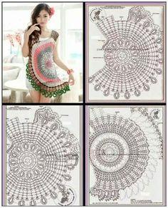 Crochet Mandala, Crochet Flowers, Crochet Lace, Crochet Girls, Crochet Woman, Diy Crafts Crochet, Crochet Projects, Shorts E Blusas, Crochet Blouse