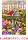 Birdbath Friends Garden Flag