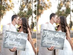 """would be awesome to do a sign that says :""""first comes love"""" at the engagement session. Of course then if you get to do their maternity session for their first child you could complete the rhyme :)"""