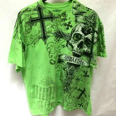 MMA Elite 2XL T Shirt Green Cross Skull  #MMAElite #GraphicTee Mens Plus Size Fashion, Best Mens Fashion, Mma, Graphic Tees, Cover Up, Skull, Blouse, Green, T Shirt