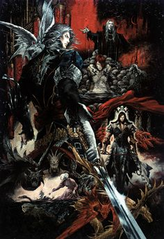 Hector, Dracula, Julia Laforeze. Castlevania art by Ayami Kojima (a Japanese game and concept artist who is best known for her work on the Castlevania series of video games with Konami)