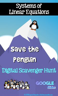 Students practice solving Systems of Linear Equations while rescuing a penguin. Rigorous and fun paperless Google slide activity. Algebra Activities, Maths Algebra, Math Teacher, Teaching Math, Teacher Stuff, College Math, Systems Of Equations, Secondary Math, 8th Grade Math