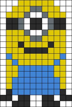 MINION 1 Perler Bead Pattern / Bead Sprite ~ This would also make a great template for a Despicable Me Minion quilt ~ ♥