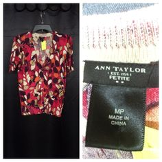 Ann Taylor sweater Pink with floral print button up v neck sweater with quarter sleeves Ann Taylor Sweaters