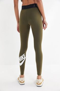 58c484116a5f3 Nike Leg-A-See JDI Leggings - Women's - Olive Green / White | Emily ...