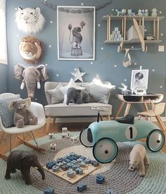 This children's room or nursery space is a dream. Baby Bedroom, Baby Boy Rooms, Baby Boy Nurseries, Nursery Room, Kids Bedroom, Bedroom Sets, Blue Bedrooms, Boys Bedroom Wallpaper, Trendy Bedroom