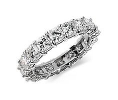 Cushion-Cut Diamond Eternity Ring in Platinum (4 ct. tw.) #BlueNile