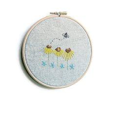 Eco Friendly, Embroidery Hoop Art, FlowerEmbroidery, Flower Wall Art, Floral Embroidery, Floral Art