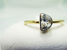 Half Moon Diamond Engagement Ring 14k yellow gold…just like dumbledore. I want this.
