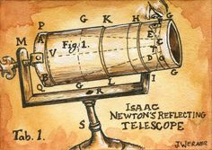"Joshua Werner's ""Isaac Newton's Reflecting Telescope"" Sketchcard for Viceroy's Space set. Click the link to see all of the Werner ACEO cards!"