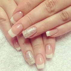 Glittering Gold French Manicure Design.