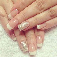 Glittering Gold French Manicure Design.