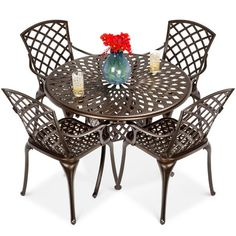 Best Choice Products 5-Piece All-Weather Cast Aluminum Patio Dining Set W/ Chairs, Umbrella Hole, Lattice Weave Design : Target Wicker Dining Set, Dining Table Chairs, Round Dining Table, Patio Dining, Patio Furniture Covers, Outdoor Dining Furniture, Outdoor Dining Set, Cast Aluminum Patio Furniture, Bedroom Furniture
