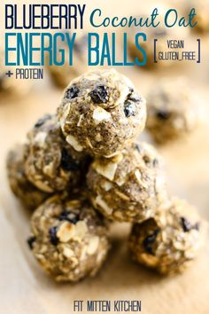 Blueberry Coconut Oat Energy Balls [vegan, gluten-free]