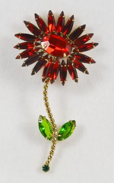 Incredible Vintage SCHREINER Red Rhinestone Flower Pin Brooch from Vermeer Collectibles Exclusively on Ruby Lane