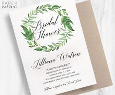 Greenery Invitation Bridal Shower Invitation Printed