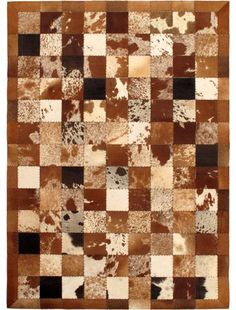 Handmade Cowhide Patchwork Modern Rectangular Leather Rug