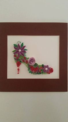 Quilling Frame, Quilled Paper Art, Quilled Women Shoes, Quilling Art, Paper Wall Art, Wall Decor, Home Decor, Wall Hanging, Quilled Gift
