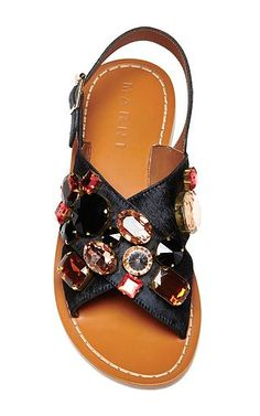 Embellished Black Flat Sandals by Marni Now Available on Moda Operandi