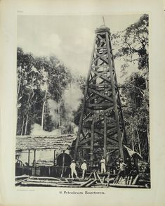 48. Petroleum – Boortoren. Antique school board of an Oil Drilling Rig, Borneo.Taken c.1895 and published between 1912 and 1914 in Holland. Oil was discovered in Indonesia in 1863 but commercial production did not begin...