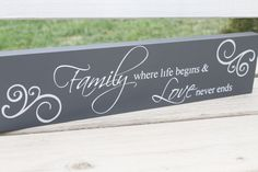 Family & Love Quote Wooden Sign by bridetobaby on Etsy, $40.00