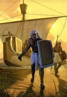 Fabrice Weisse - Egyptians Campaign in Nubia Century BC Fantasy Art Warrior, Fantasy Dwarf, Ancient Egypt, Ancient History, African Symbols, Desert Art, Sword And Sorcery, Medieval, Historical Pictures