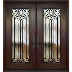 Buy online double entry door with full size Madrid wrought iron decorative glass inserts. Brown Front Doors, Double Entry Doors, Glass Front Door, Glass Door, Front Gate Design, Contemporary Front Doors, Front Gates, Door Accessories, Entrance Doors