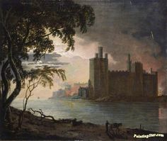Caernarvon Castle By Moonlight Artwork by Joseph Wright of Derby Hand-painted and Art Prints on canvas for sale,you can custom the size and frame