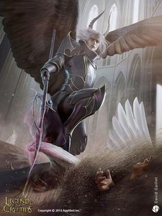 The exquisite dark fantasy paintings and illustrations of David Gaillet, a freelance digital artist and illustrator based in France. Fantasy Male, Dark Fantasy Art, Lugia, Character Portraits, Character Art, Angel Warrior, Angels And Demons, Fallen Angels, Fantasy Paintings