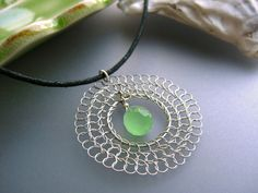Green Dream Catcher Necklace wire crochet silver by SerasiJewelry