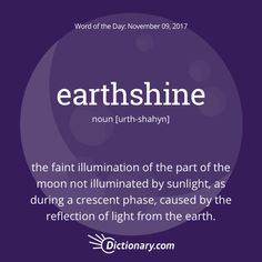 Dictionary.com's Word of the Day - earthshine - Astronomy. the faint illumination of the part of the moon not illuminated by sunlight, as during a crescent phase, caused by the reflection of light from the earth.