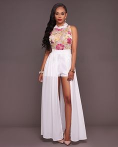 Fashion Flower Embroidered Long Cloak Mesh Jumpsuits 24115-2 US$9