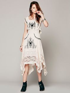 Bohemian Bead work & embroidery embellished maxi with #romantic #lace and net trim work. #boho #dress