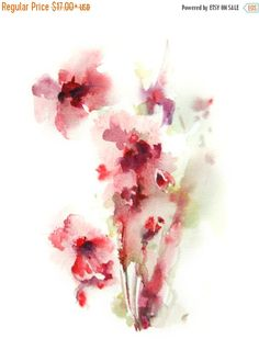 Abstract Flowers Watercolor Painting Art Print Fine Art Print from Watercolor Painting Watercolour Wall Art  Professional quality art print on