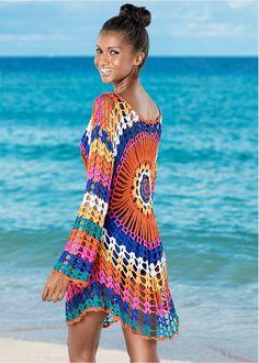 Sexy Rainbow Beach Dress Tunic Women Crochet Knitted Bikini Cover Up Beach Wear Long Cotton Pareo Summer Swimsuit Cover-Ups Crochet Bodycon Dresses, Black Crochet Dress, Crochet Beach Dress, Beach Fabric, Crochet Cover Up, Crochet Tops, Beach Wear Dresses, Beach Outfits, Bikini Cover Up