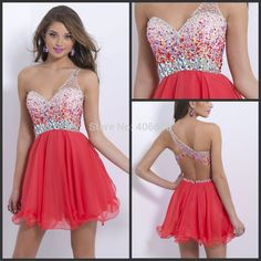 Find More Homecoming Dresses Information about Custom Made New Design Chiffon One Shoulder Beaded Sexy Short Homecoming Dress,High Quality Homecoming Dresses from Forever Lover Bridal on Aliexpress.com