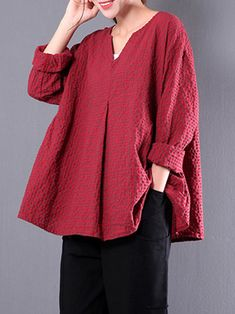 SPU: Process: Folds Material: Cotton,Linen Pattern Type: Gingham Sleeve Type: Sleeve Tag: Plus Size Style: Casual Elasticity: Non-stretchy Thickness: Mid-weight Color: Red,Dark Green,Dark blue Size: Theme: Spring/Fall Shoulder (cm): B Blouse Vintage, Blouse Online, Linen Dresses, Plus Size Blouses, Blouse Styles, Pulls, Types Of Sleeves, Cotton Linen, Blouses For Women