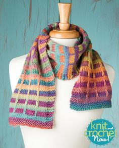 Free Mock Plaid Scarf Knit Pattern Download -- Designed by Susan Druding courtesy of Crystal Palace Yarns. Featured in Season 5, episode 506, of Knit and Crochet Now! TV. Download here: https://www.anniescatalog.com/knitandcrochetnow/patterns/detail.html?pattern_id=25