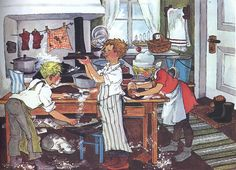 Illustration by Ilon Wikland, Bullerby Children bake gingerbread (Astrid Lindgren) Old Illustrations, Children's Book Illustration, Winter Wonderland Christmas, Christmas Art, Christmas Baking, Xmas, Vintage Children's Books, Christmas Pictures, Poster
