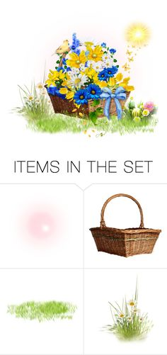 """""""Meadow Flowers in Basket"""" by mroz-naps ❤ liked on Polyvore featuring art"""