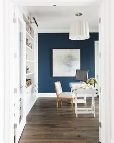 Navy and White Home office Home Office Paint Ideas, Home Office Design, Home Office Decor, Home Decor Bedroom, Feminine Office Decor, Office Wall Colors, Office Color Schemes, Blue Painted Walls, Blue Room Paint
