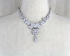 Rhodium Cubic zirconia Wedding necklace Statement jewelry Gift for Bride