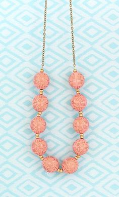 Beaded Necklace Statement Necklace Pink and Blue