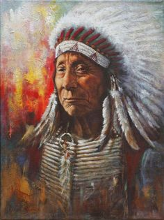 Native American Painting - Chief Red Cloud by Harvie Brown Native American Paintings, Native American History, Indian Paintings, Native American Indians, Paintings For Sale, Art Paintings, Red Cloud, Cloud Art, Native Indian
