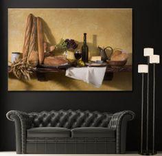 Canvas Print Bread Wine Still Life Home Wall Art Prints Picture Colorful Decor