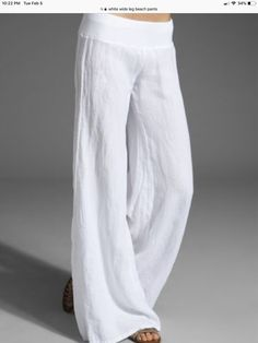 Enza Costa Linen Wide Leg Pant in White You are in the right place about linen pants outfit plus siz Summer Pants Outfits, Cool Outfits, Casual Outfits, Outfit Summer, White Fashion, Look Fashion, Fashion Outfits, Steampunk Fashion, Gothic Fashion