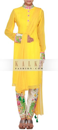 Get this beautiful Salwar-Kameez http://www.kalkifashion.com/yellow-georgette-a-line-suit-embellished-in-resham-and-zari-only-on-kalki.html