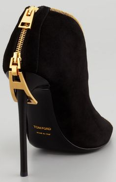 Tom Ford Zipper-Heel Suede Zip-Front Bootie,