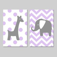 Polka Dot Giraffe Chevron Elephant Nursery Art Duo  Set by Tessyla, $54.00